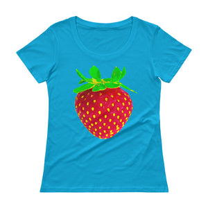 Strawberry Women's Scoopneck Cotton T Shirt Caribbean Blue Front