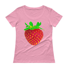 Load image into Gallery viewer, Strawberry Women's Scoopneck Cotton T Shirt Charity Pink Front