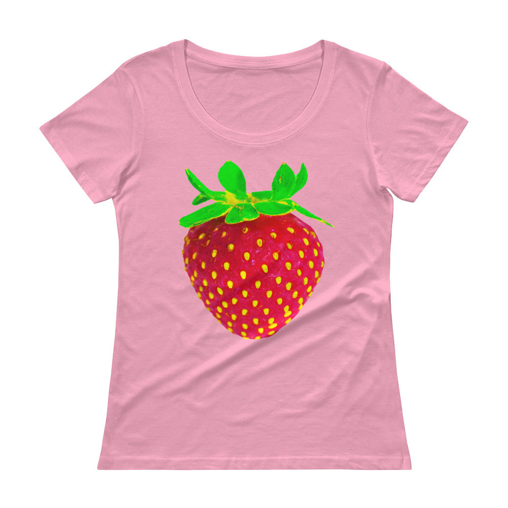 Strawberry Women's Scoopneck Cotton T Shirt Charity Pink Front