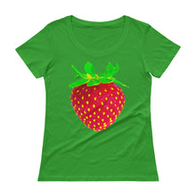 Load image into Gallery viewer, Strawberry Women's Scoopneck Cotton T Shirt Green Apple Front