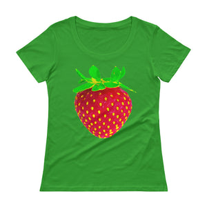 Strawberry Women's Scoopneck Cotton T Shirt Green Apple Front