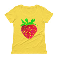 Load image into Gallery viewer, Strawberry Women's Scoopneck Cotton T Shirt Lemon Zest Front
