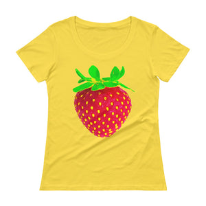 Strawberry Women's Scoopneck Cotton T Shirt Lemon Zest Front