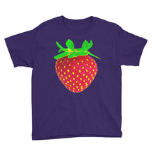 Load image into Gallery viewer, Strawberry Youth Cotton Short Sleeve T Shirt Purple Front