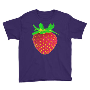 Strawberry Youth Cotton Short Sleeve T Shirt Purple Front