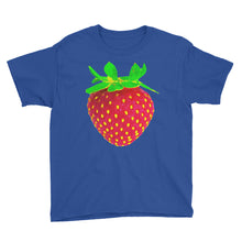 Load image into Gallery viewer, Strawberry Youth Cotton Short Sleeve T Shirt Royal Blue Front