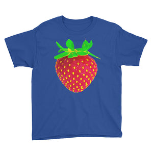 Strawberry Youth Cotton Short Sleeve T Shirt Royal Blue Front