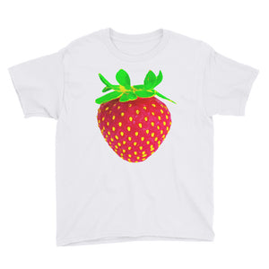 Strawberry Youth Cotton Short Sleeve T Shirt White Front