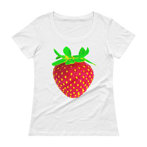 Strawberry Women's Scoopneck Cotton T Shirt White Front