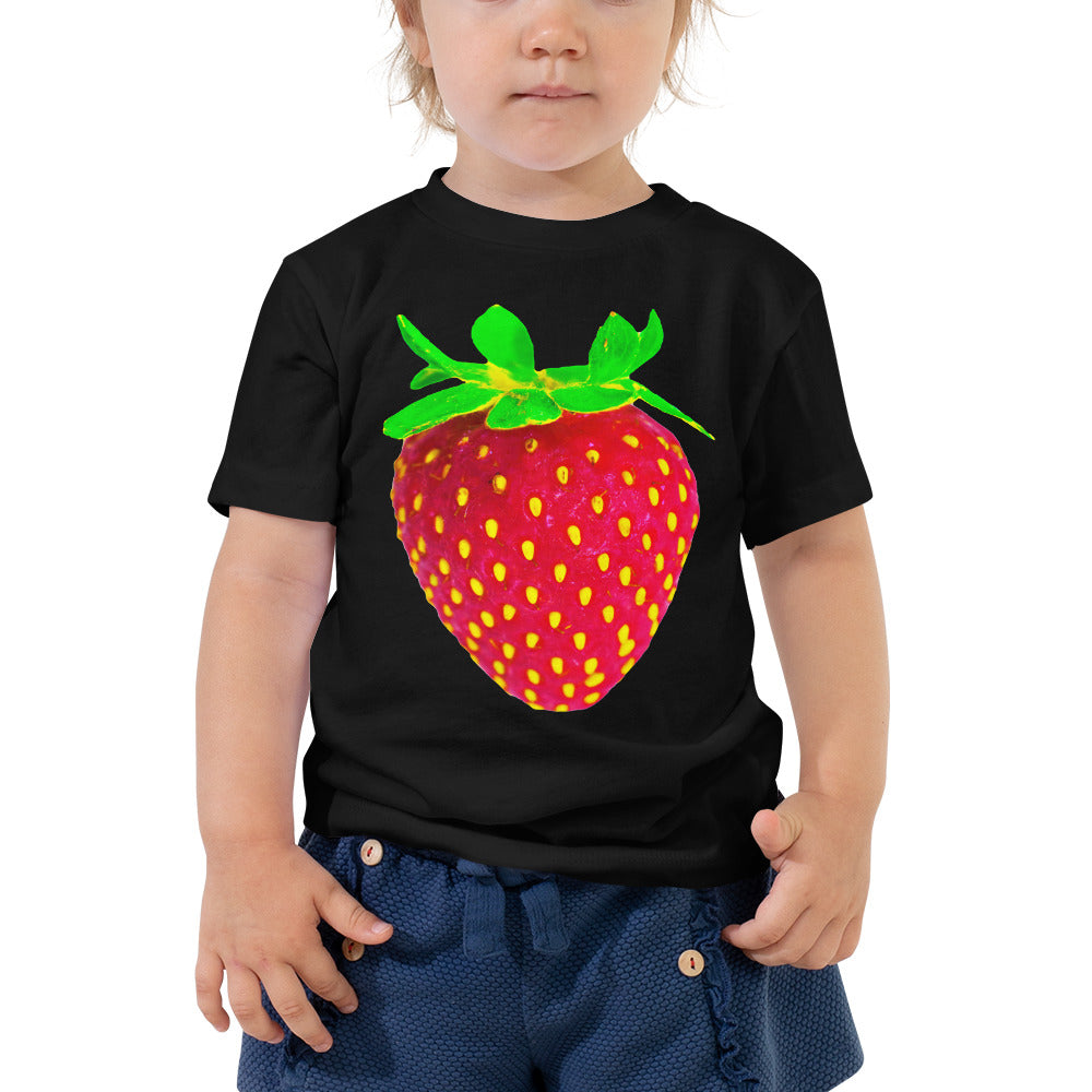 Strawberry Toddler Cotton Short Sleeve T Shirt Black Front