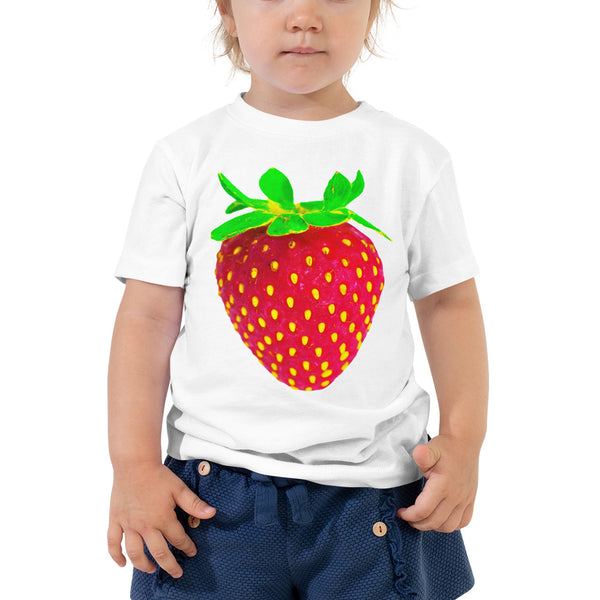 Strawberry Toddler Cotton Short Sleeve T Shirt White Front
