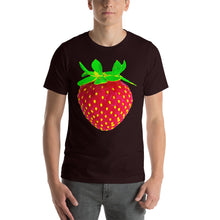 Load image into Gallery viewer, Strawberry Men's Cotton Short Sleeve T Shirt Oxblood Black Front