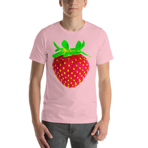Strawberry Men's Cotton Short Sleeve T Shirt Pink Front