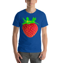 Load image into Gallery viewer, Strawberry Men's Cotton Short Sleeve T Shirt True Royal Front