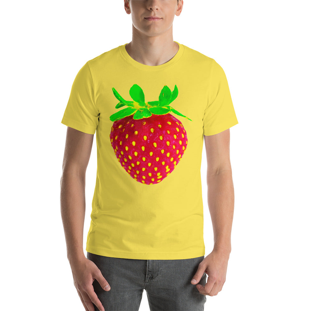 Strawberry Men's Cotton Short Sleeve T Shirt Yellow Front