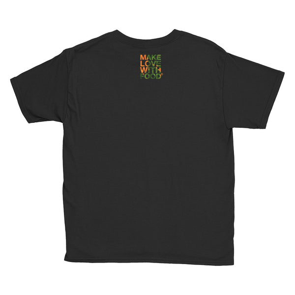 Carrot Heart Youth Cotton Short Sleeve T Shirt Black Back