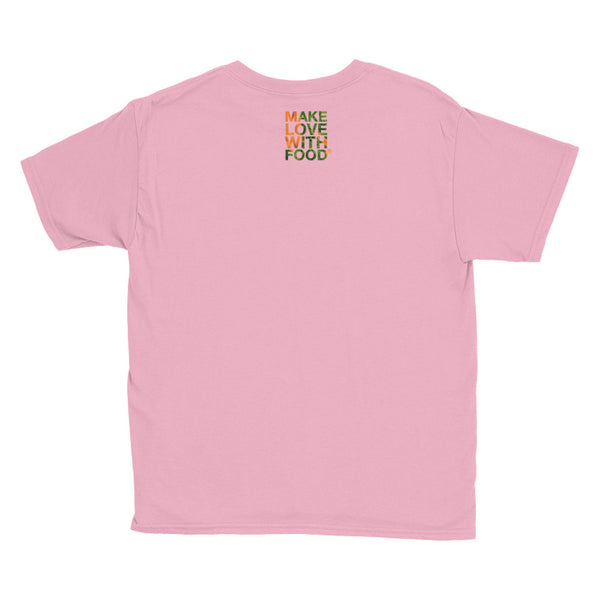 Carrot Heart Youth Cotton Short Sleeve T Shirt Charity Pink Back