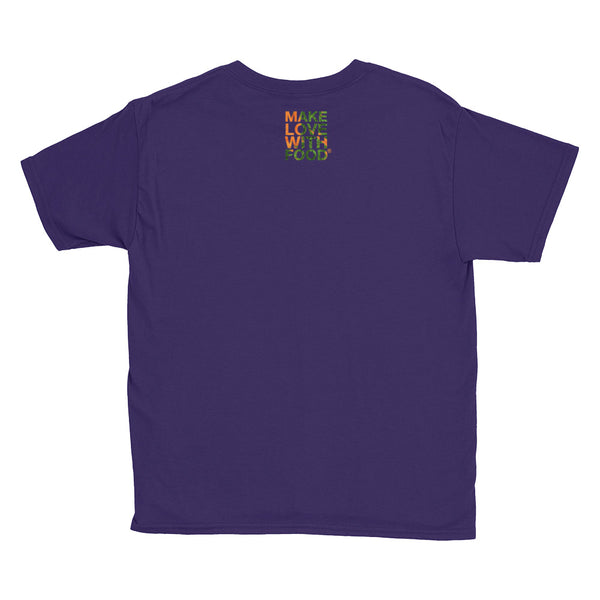 Carrot Heart Youth Cotton Short Sleeve T Shirt Purple Back