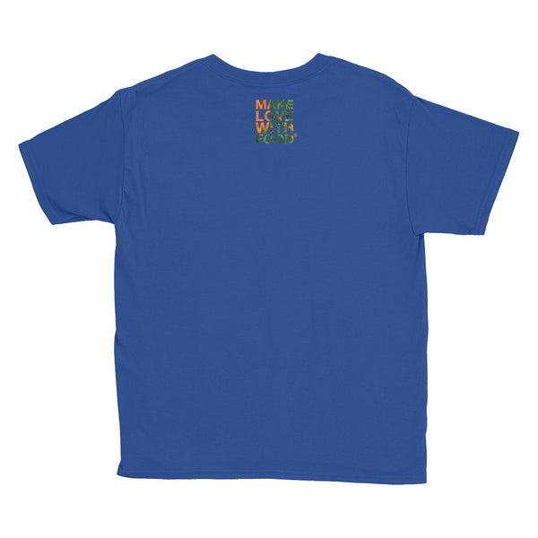 Carrot Heart Youth Cotton Short Sleeve T Shirt Royal Blue Back