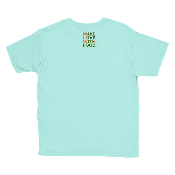 Carrot Heart Youth Cotton Short Sleeve T Shirt Teal Ice Back