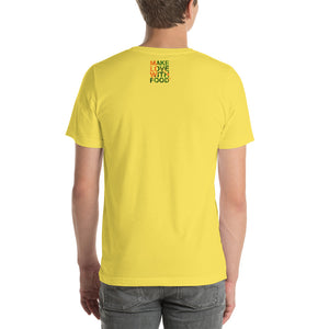 Carrot Heart Men's Cotton Short Sleeve T Shirt Yellow Back