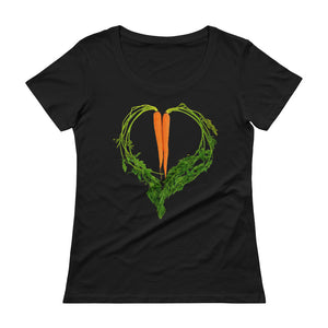 Carrot Heart Women's Scoopneck Cotton T Shirt Black Front