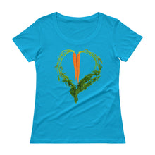 Load image into Gallery viewer, Carrot Heart Women's Scoopneck Cotton T Shirt Caribean Blue Front