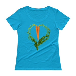 Carrot Heart Women's Scoopneck Cotton T Shirt Caribean Blue Front