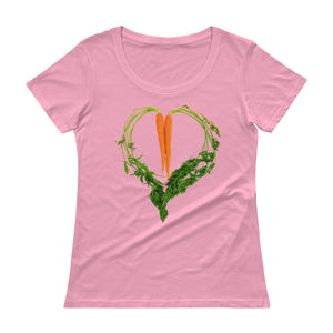 Carrot Heart Women's Scoopneck Cotton T Shirt Charity Pink Front