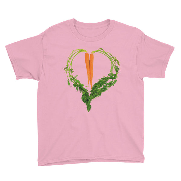 Carrot Heart Youth Cotton Short Sleeve T Shirt Charity Pink Front