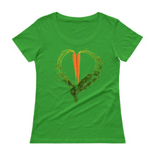 Load image into Gallery viewer, Carrot Heart Women's Scoopneck Cotton T Shirt Green Apple Front