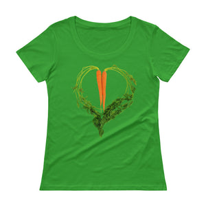 Carrot Heart Women's Scoopneck Cotton T Shirt Green Apple Front
