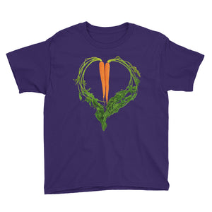 Carrot Heart Youth Cotton Short Sleeve T Shirt Purple Front