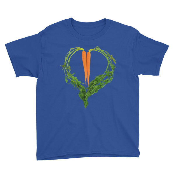 Carrot Heart Youth Cotton Short Sleeve T Shirt Royal Blue Front