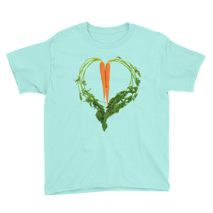 Carrot Heart Youth Cotton Short Sleeve T Shirt Teal Ice Front
