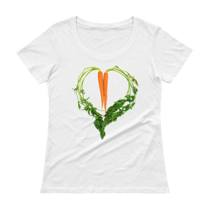 Carrot Heart Women's Scoopneck Cotton T Shirt White Front