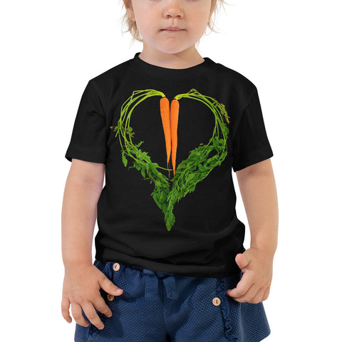 Carrot Heart Toddler Cotton Short Sleeve T Shirt Black Front