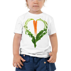 Carrot Heart Toddler Cotton Short Sleeve T Shirt White Front