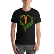 Load image into Gallery viewer, Carrot Heart Men's Cotton Short Sleeve T Shirt Black Front