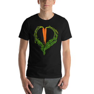Carrot Heart Men's Cotton Short Sleeve T Shirt Black Front
