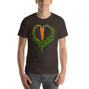 Carrot Heart Men's Cotton Short Sleeve T Shirt Brown Front