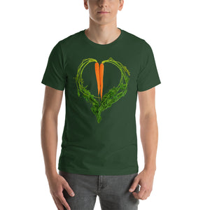 Carrot Heart Men's Cotton Short Sleeve T Shirt Forest Front