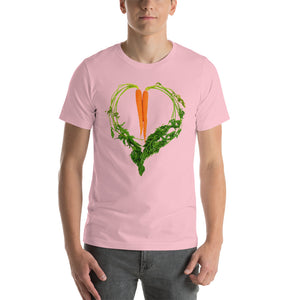 Carrot Heart Men's Cotton Short Sleeve T Shirt Pink Front