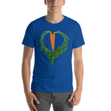 Load image into Gallery viewer, Carrot Heart Men's Cotton Short Sleeve T Shirt True Royal Front