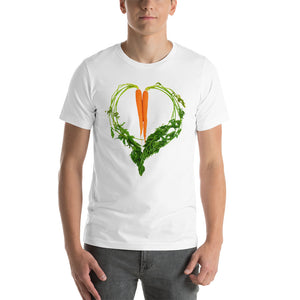 Carrot Heart Men's Cotton Short Sleeve T Shirt White Front