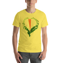 Load image into Gallery viewer, Carrot Heart Men's Cotton Short Sleeve T Shirt Yellow Front