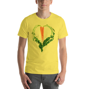 Carrot Heart Men's Cotton Short Sleeve T Shirt Yellow Front