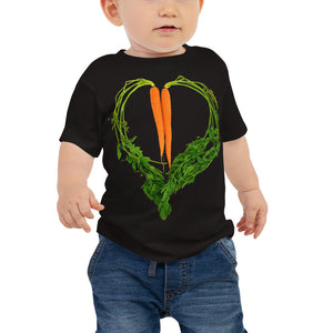 Carrot Heart Baby Jersey Short Sleeve T Shirt Black Front