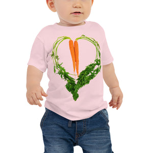 Carrot Heart Baby Jersey Short Sleeve T Shirt Pink Front