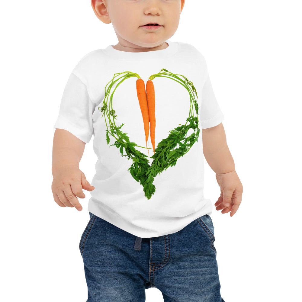 Carrot Heart Baby Jersey Short Sleeve T Shirt White Front